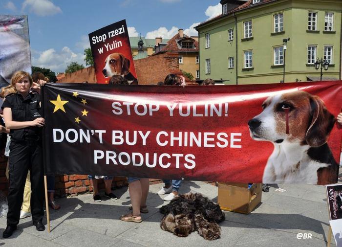 Demonstrators with banner