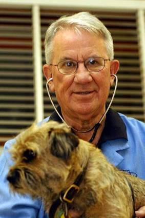 Hugh Wirth with a dog