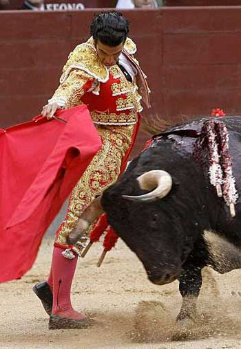 Matador fighting a bull
